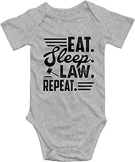 Promini Eat Sleep Law Repeat Baby Strampler aus Baumwolle, kurzärmelig, 3-6 Monate, ZI5174