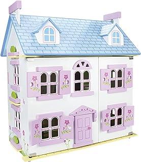 Leomark Vacker stor vit alpin dockhus för barn med möbler, uppsättning dockor, barnleksak dockhus för pojkar flickor