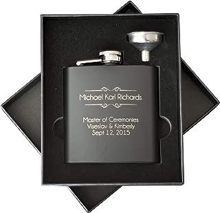 Personalized Hip Flask for Men | Best Man Groomsman Flask for Wedding | Stainless Steel Black Leather Flasks | Drinking Bottle for Alcohol Liquor Whiskey Rum Vodka SHOT Flask (2pc Gift Box Set)