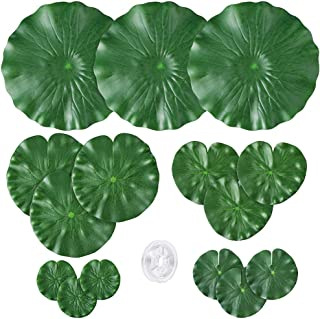 Auihiay 15 Pieces 5 Kinds Artificial Floating Foam Lotus Leaves Water Lily Pads Ornaments for Patio Pond Pool Aquarium Water Decorative