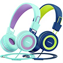 Mpow CH8 Kids Headphones with Microphone 2 Pack, Wired On Ear Headphones for Kids with Safe Volume Limit 91dB, Headsets with Sharing Audio Splitter for Boys Girls Toddlers Children School Travel