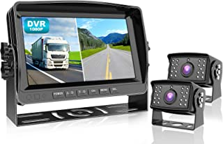 Fookoo Ⅱ HD 1080P Wired Backup Camera System Kit,9 inch DVR Dual Split Screen Monitor, IP69 Waterproof Rear View Camera fo... photo