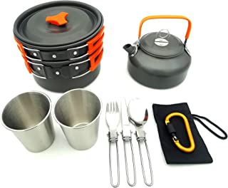 Outdoor supplies camping pots and pans, portable teapot and pot combinations, portable picnic sets-orange