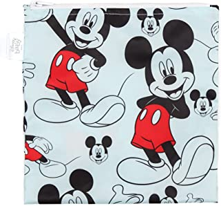 Bumkins Disney Snack Bag, Reusable, Mickey Mouse, 7x7 Inch (Pack of 1)
