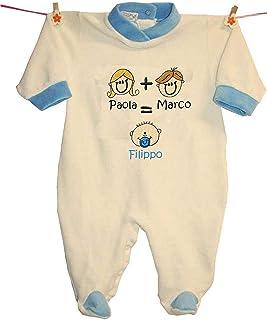 """Zigozago - Tutina""""MAMMA + PAPA'= IO"""" personalizzata con i nomi"""