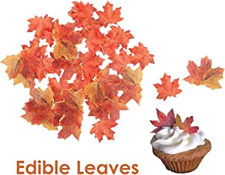 GEORLD Set of 36 Edible Fall Leaves Gold Leaf Cake Decorations, Party Cupcake Topper