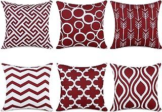 Topfinel 6er Set Kissenbezüge 45x45 cm Qualitäts Kissenhüllen in Segeltuch mit Geometrischen Mustern für Sofa Auto Terrasse Zierkissenbezüge Serie Weinrot und Weiß