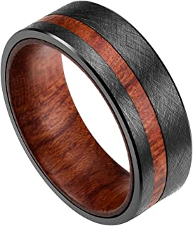DOUX 8mm Mens Black Tungsten Carbide Wedding Ring Rosewood Inlaid Wire Brushed Finished Flat Style