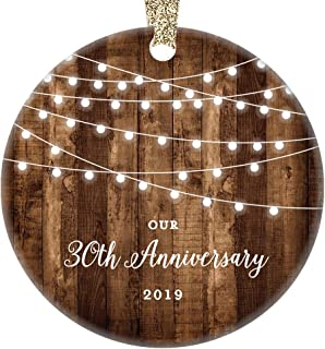 30th Anniversary Gifts Dated 2019 Thirtieth Anniversary Married Christmas Ornament for Couple Mr Mrs Rustic Xmas Farmhouse Collectible Present 3