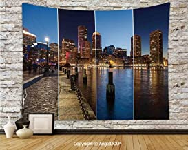 "AngelDOU Camping Tent Travel Mattress Tapestry Boston Skyline Day and Night Cityscape Skyscraper Reflection in Water Metropolis Polyester Thin Tapestry W59""x L51.2"""