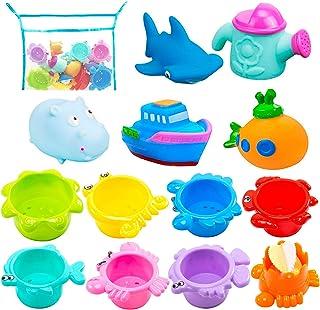 INNOCHEER اسباب بازی های حمام و فنجان های انباشته برای کودکان نوپا با اسباب بازی آموزشی اولیه سریع خالص 13 سی سی برای بازی وان وان ، مهمانی ساحلی و استخر