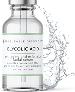 Measurable Difference Glycolic Acid Serum 5% for All Skin Types – Alpha Hydroxy Acid Facial Peel Moisturizer – Anti-Aging ...