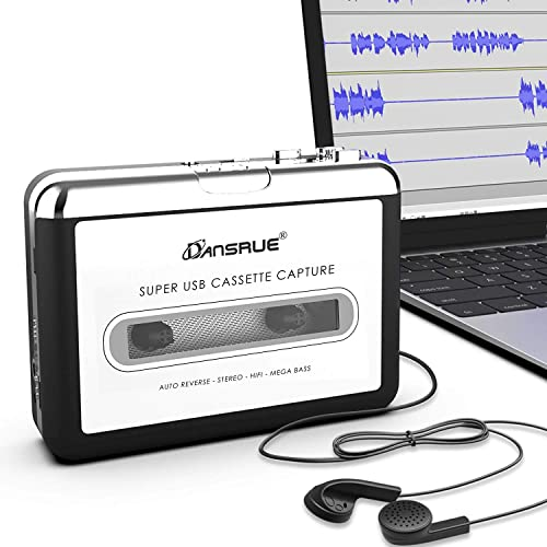 Updated Cassette to MP3 Converter, USB Cassette Player from Tapes to MP3, Digital Files for Laptop PC and Mac with He...
