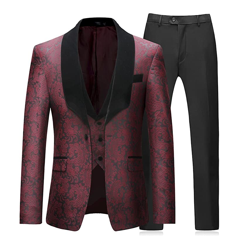 Boyland Mens 3 Piece Tuxedos Vintage Groomsmen Wedding Suit Complete Outfits(Jackets+Vest+Trousers)