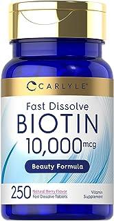 Biotin 10000mcg | 250 Fast Dissolve Tablets | Max Strength | Hair, Skin, and Nails Supplement | Vegetarian, Non-GMO, Glute...