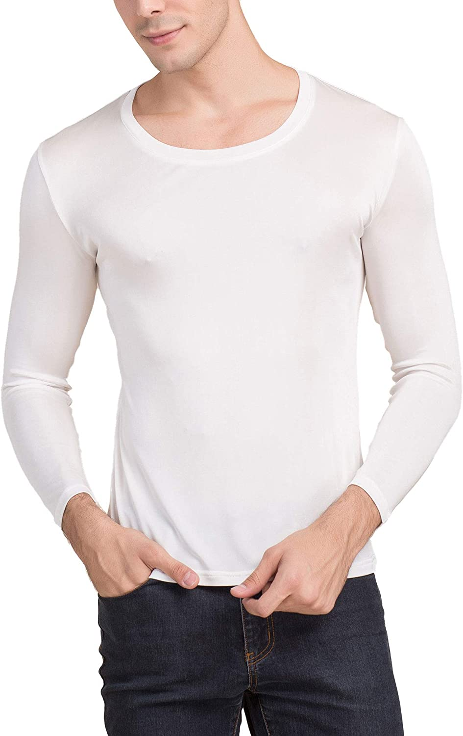 Paradise Silk Mens Pure Silk Scoop Neck Long Sleeves Long Johns Top only