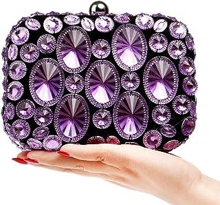 Women's Evening Bag,Fashion Luxury Crystal Diamond Clutch for Bridal Party Prom Wedding,Purple,6 * 11 * 16cm