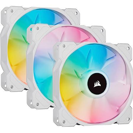 Corsair iCUE SP120 RGB ELITE Performance 120 mm Kit de Trois Ventilateurs avec iCUE Lighting Node CORE (Technologie CORSAIR AirGuide, Huit LED RGB Paramétrables, Silencieux niveau sonore 18 dBA) Blanc