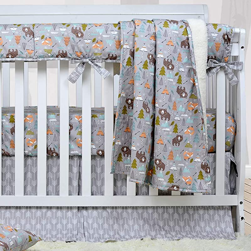 Brandream Crib Bedding Sets For Boys Woodland Bear Fox Arrow Baby Nursery Bedding 3 Pieces Blanket Crib Sheet Crib Bed Skirt 100 Breathable Cotton