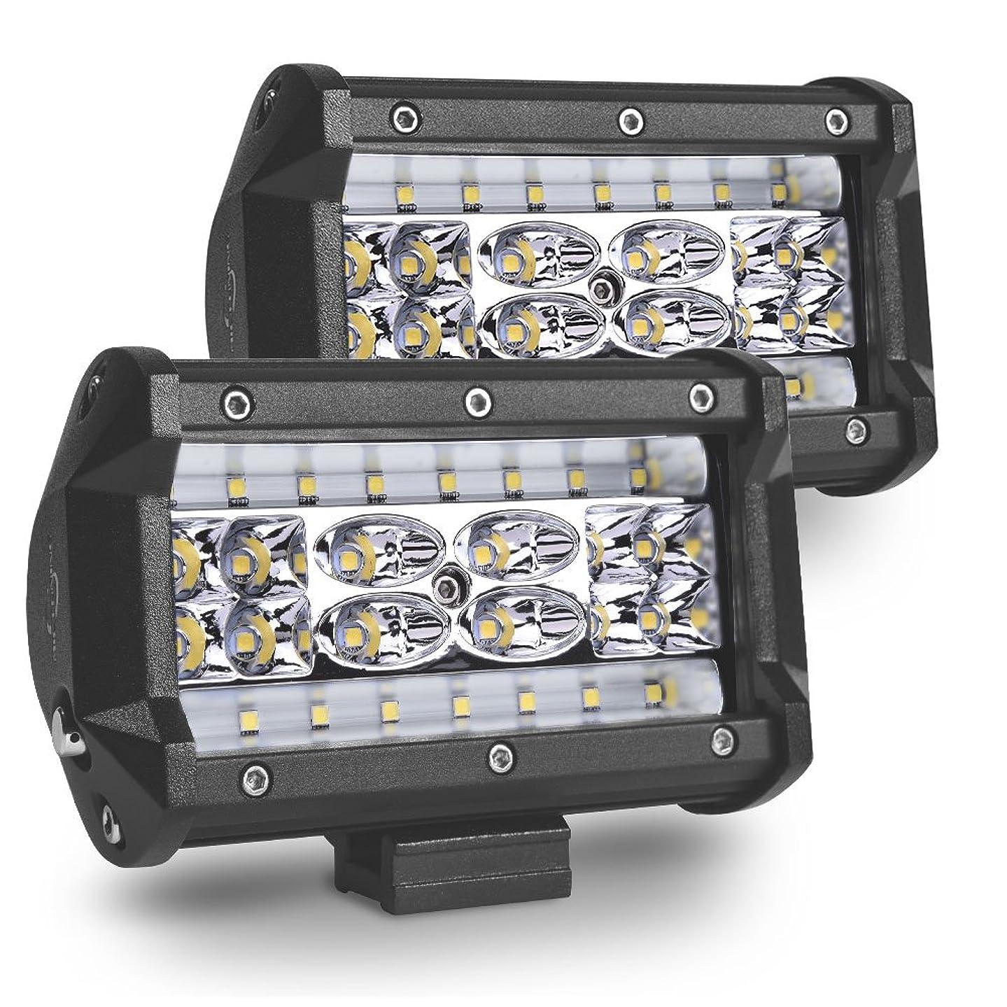 MICTUNING 2Pcs 5inch LED Pods Quad-Row Off Road LED Light Bar 4200LM Spot Flood Combo Beam Work Light Driving Fog Lamps for Jeep SUV ATV UTV Truck Boat
