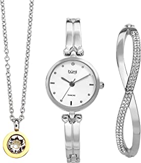 Burgi Women's 3 Piece Jewelry Gift Set – Half Bangle Diamond Watch with Swarovski Crystal Pendant Necklace and Bracelet Flash Plated -