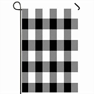 Ahawoso Outdoor Garden Flags 12x18 Inch Check Lumberjack Plaid Pattern Buffalo Coat Black Casual Checkered Flannel Jacket Design Retro Vertical Double Sided Home Decorative House Yard Sign