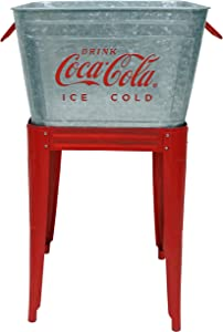 Leigh Country CP 98090 Galvanized 42 Qt. Coca-Cola Wash Tub Stand, Silver and Red