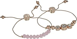 Two-Piece Slider Bracelet Set with Bead and Stone Accents