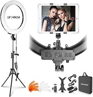 Neewer Kit Luz Anillo: 48cm 55W 5500K Luz Anillo LED Regulable con Soporte Luz iPad Abrazadera Tubo Blando Color Filtro Bo...