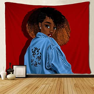 SARA NELL Black Art Tapestry Wall Tapestry Black Girl Afro Girl Cool African American Girl with Cool Denim Jacket Wall Hanging Tapestries Tapestry for Living Room Bedroom Dorm Decor 60x80 Inches