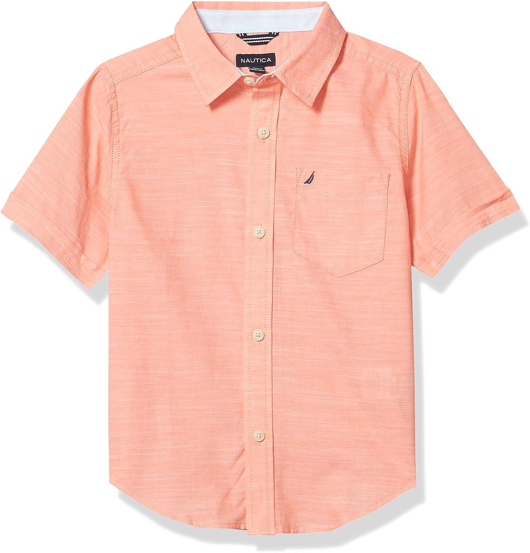 Nautica Boys' Short Sleeve Slub Knit Button Up Shirt