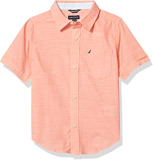 Nautica Boys' Short Sleeve Slub Knit Button Up Shirt