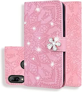 For Huawei Y9 (2019) / Enjoy 9 Plus Calf Pattern Diamond Mandala Double Folding Design Embossed Leather Case with Wallet & Holder & Card Slots New (Brown) Hopezs (Color : Pink)