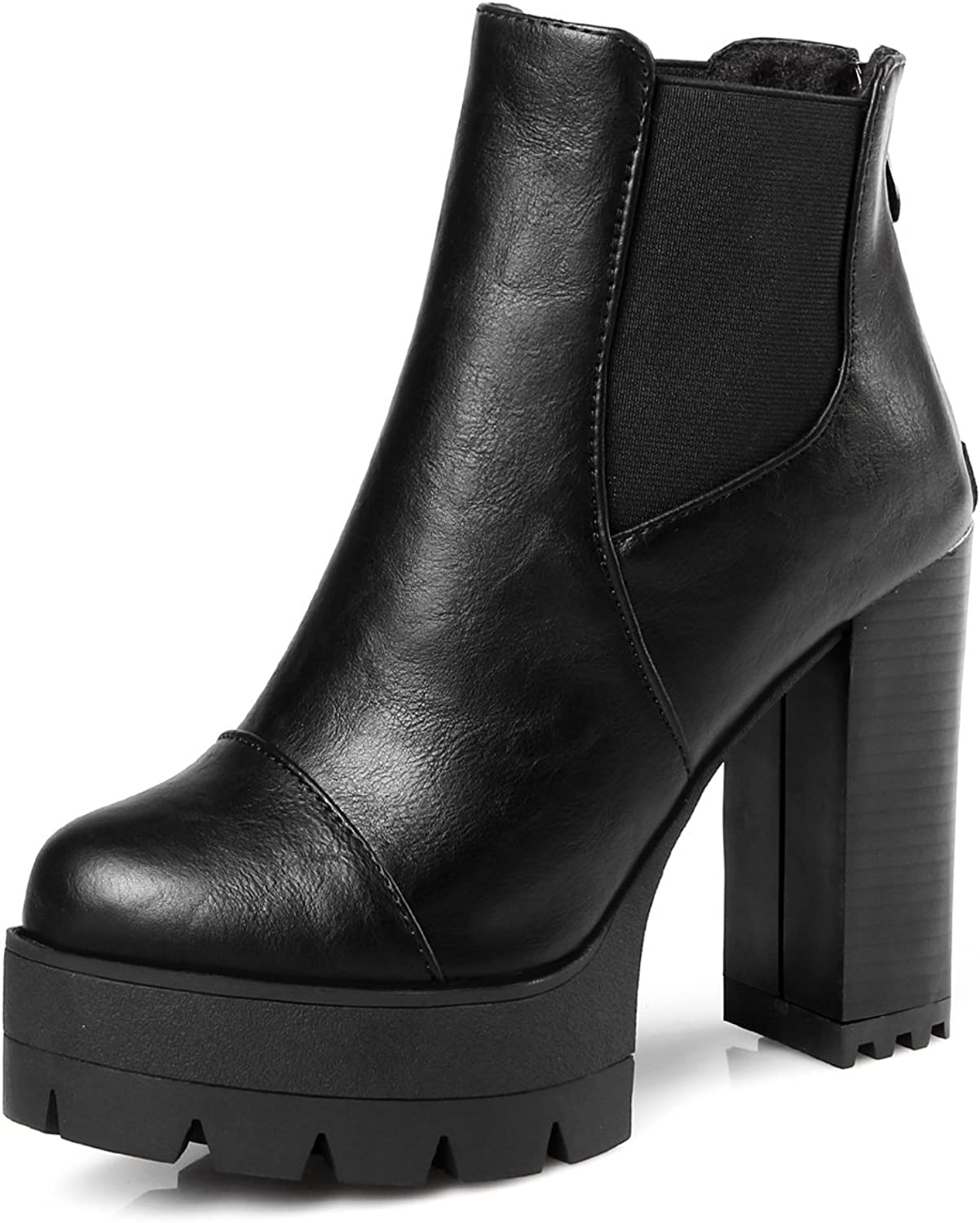 DoraTasia Women's Back Zipper Small Round Toe Platform High Chunky Heel Ankle Boots