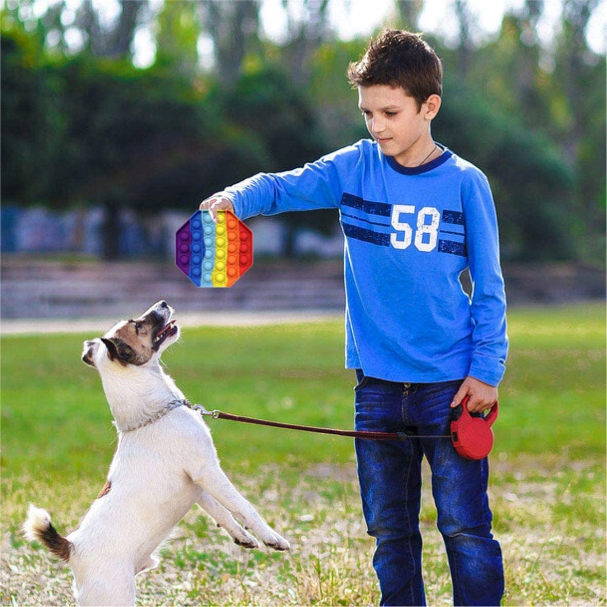 Autism Special Needs Silicone Stress Reliever Push pop Rainbow Bubble Fidget Sensory Toy School Learning Game Crafts for Kids Adults LEERUI Bubble Popper Squeeze Sensory Toys