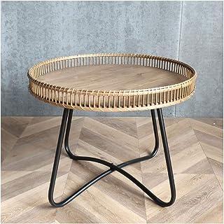 Petite table de bout Allure de fer rond de la table d'appoint moderne salon minimaliste japonais rotin de style maison caf...