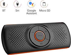 Aigoss Manos Libres para Coche Bluetooth 4.2 con Siri y Google Assistant, Kit de Coche Altavoz Inalámbrico para Visera, Conexión de 2 Teléfonos Simultáneamente