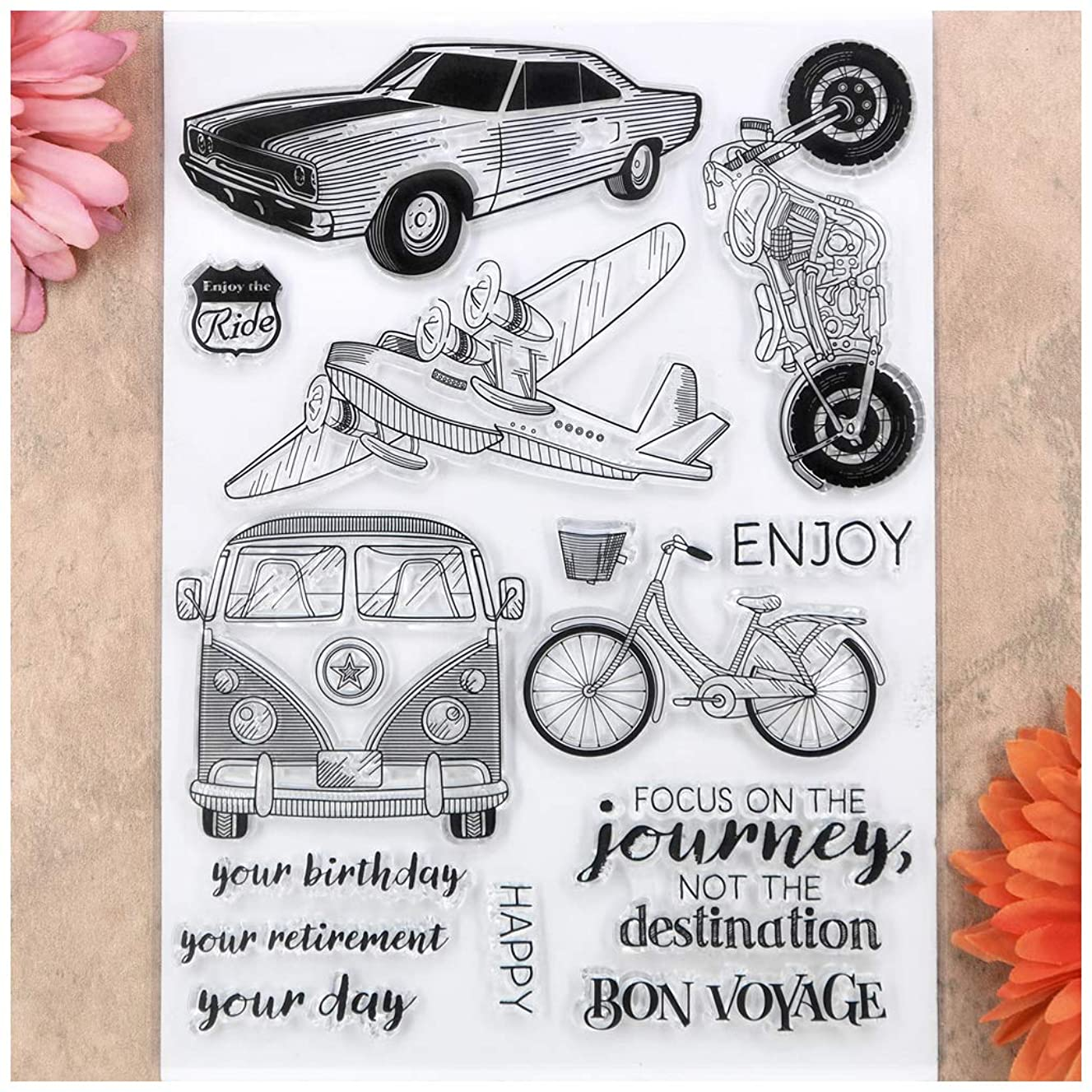 Kwan Crafts Enjoy the Ride Happy Birthday Car Bicycle Clear Stamps for Card Making Decoration and DIY Scrapbooking fbydb2454