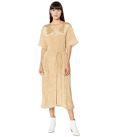 Vince Textured V-Neck Dress (Sun Khaki) Women