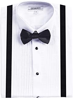 Boy's White Tuxedo Dress Shirt with Bow Tie & Suspenders and Metal Studs