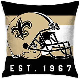 Gdcover Custom Stripe Orleans Saints Pillow Covers Standard Size Throw Pillow Cases Decorative Cotton Pillowcase Protecter with Zipper - 18x18 Inches