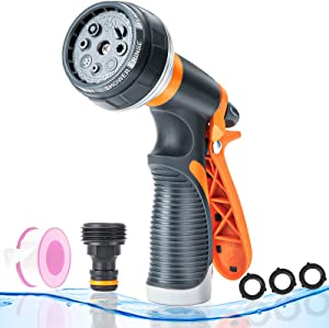 GOEKUU Garden Hose Nozzle Sprayer, High Pressure Hose Sprayer with 8 Adjustable Spray Patterns, Thumb Control Water Hose Nozzle Sprayer for Garden, Car Wash, Watering Plants and Showering Pets