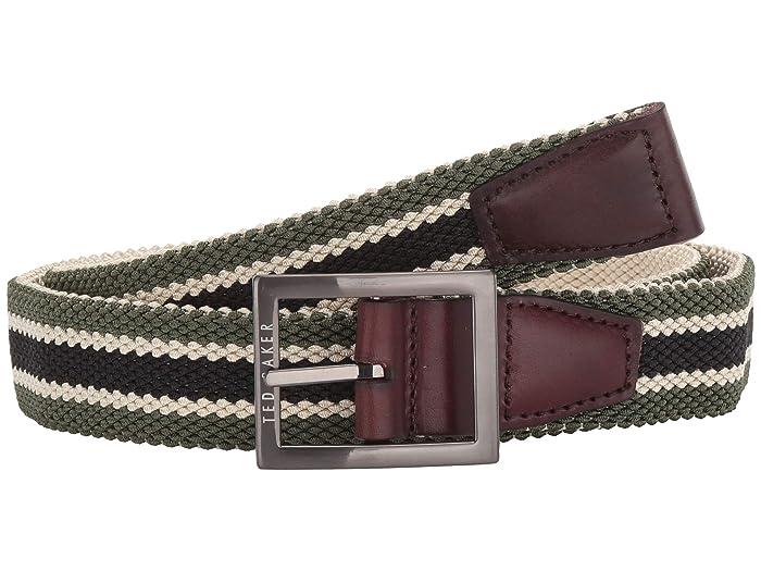 Ted Baker Greep Reversible Elastic Belt (Olive) Men