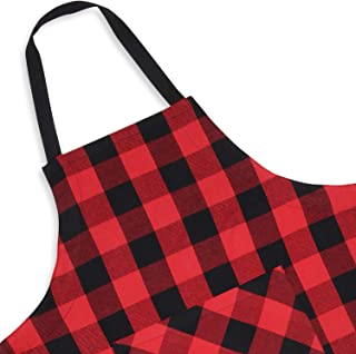 Cackleberry Home Red and Black Buffalo Check Woven Fabric Bib Apron Pocket Adjustable Strap