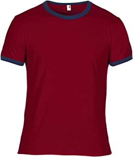 Mens Plain Lightweight Ringer T-Shirt (XL) (Independence Red/Navy)