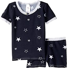 Navy Stars/White Lace