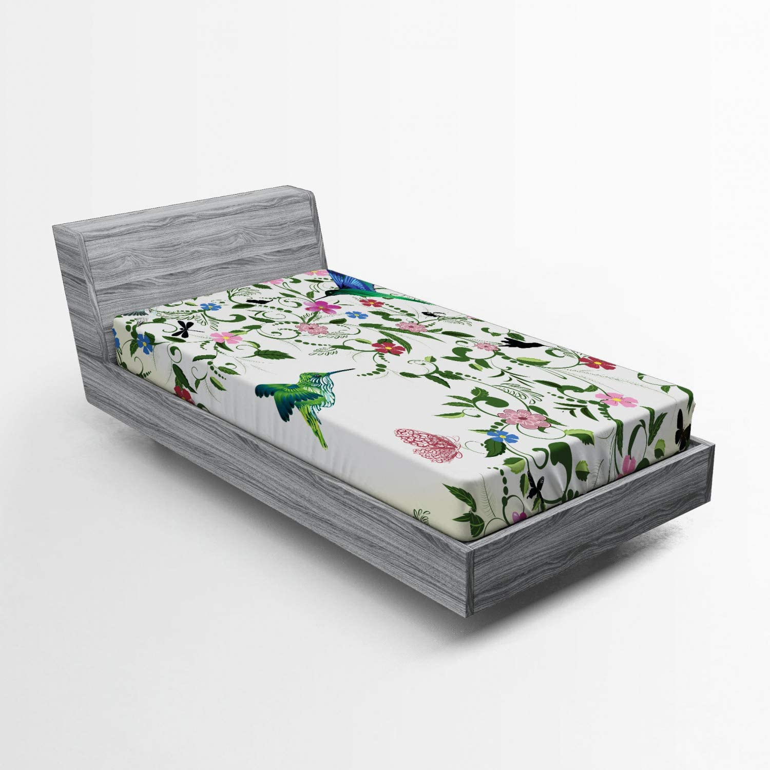 White Black Soft Decorative Fabric Bedding All-Round Elastic Pocket Young Girl Hugging a Dragon with Wings and Scales Mythical Creature Design Lunarable Fantasy Fitted Sheet Queen Size