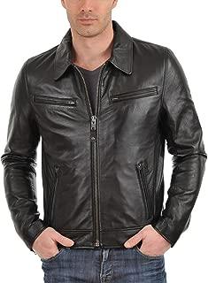 Men's Genuine Lambskin Leather Jacket (Black, Aviator Jacket) - 1501611