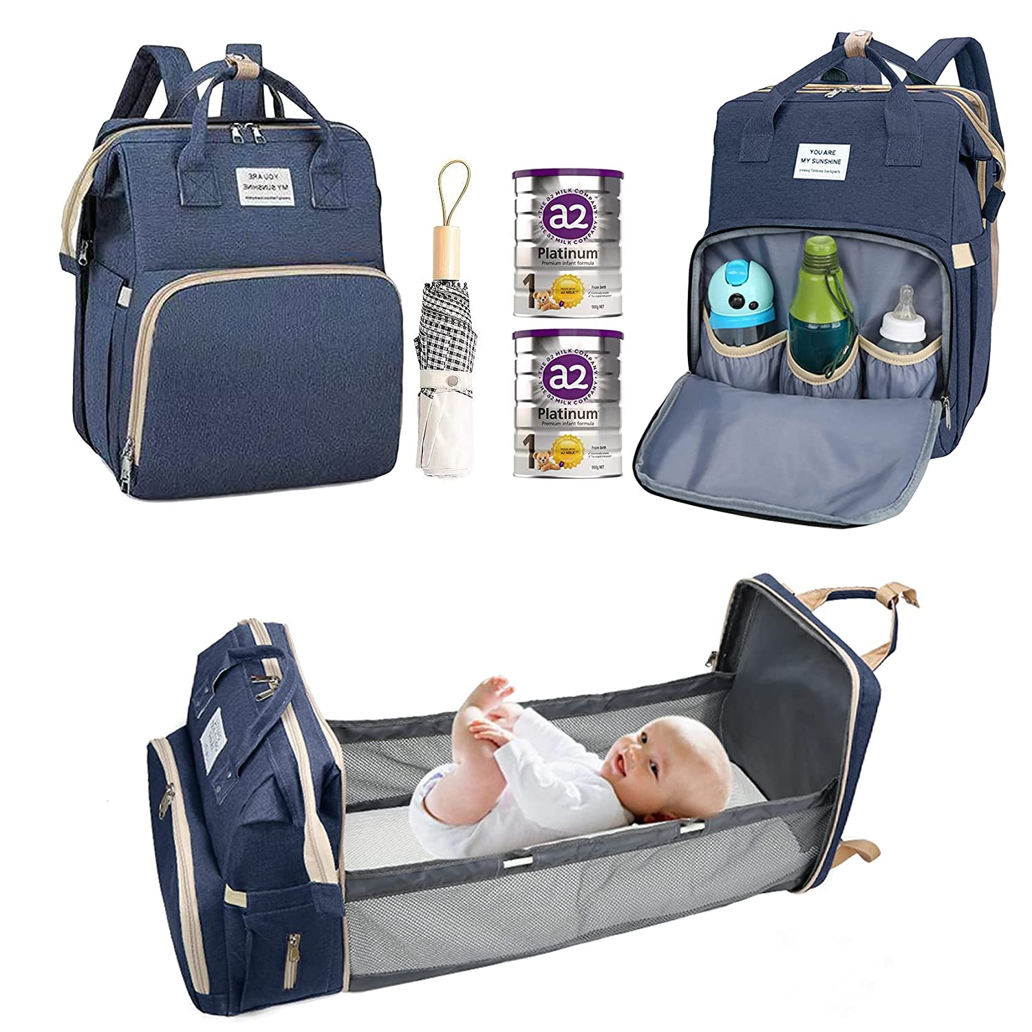 Diaper Bag Backpack with Changing Station, Baby Stuff for Newborn, Travel Portable Baby Essentials, for Baby Boys/Girls, Gifts for Mom and Dad