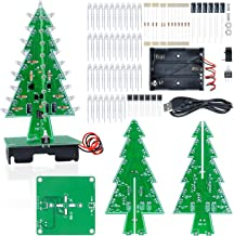 Aideepen 3D Christmas Tree LED Flashing Light DIY Kit 7 Colors LED Flash Circuit Kit Without Batteries